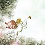 Christmas card. Angel and Christmas toys — Stock Photo #59990031