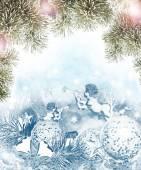 Kerstkaart. Angel en Kerstmis speelgoed — Stockfoto