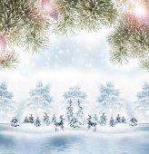 Winter. Snowfall. christmas card — Stock Photo