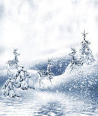 Winter Forest. Winter landscape.Christmas card — Stock Photo