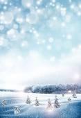 Il villaggio nella foresta di inverno — Foto Stock