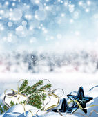Christmas card. Toys in the snow. — Stockfoto