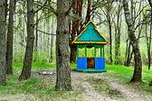 Gazebo in spring forest — Stock Photo