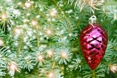 Christmas toy pine cone on the tree — Stock Photo