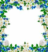 Frame from flowers roses, jasmine and forget me — Stock Photo