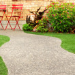 Walk way with perfect grass landscaping with artificial grass in residential area — Stock Photo #57423959