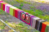 Yarn bombed railings — Stock Photo