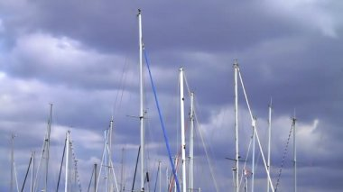 Boat masts in a harbor — Stock Video