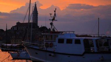 Boats in Rovinj dock. — Stock Video