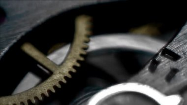 Close up on rotating cogs of a stopwatch — Stock Video