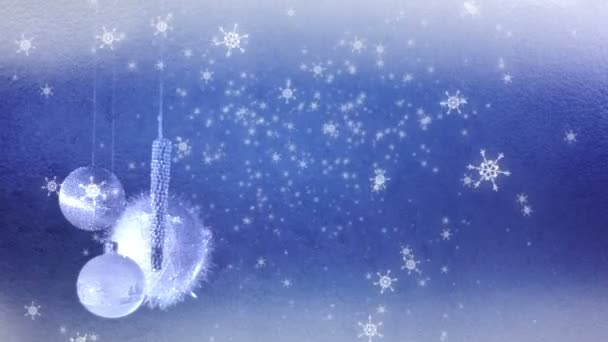 Christmas decoration and falling snowflakes — Vidéo