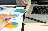 Business documents laptop — Stock Photo