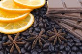 Fragrant spices, coffee, orange and chocolate — Stock Photo