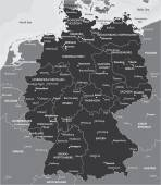 Black and white map of Germany — Stock Vector