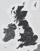 Black and white map of the UK and Ireland — Stock Vector