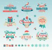 Christmas vintage typography design — Stock Vector