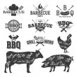 BBQ Emblems and Logos — Vector de stock  #83907480