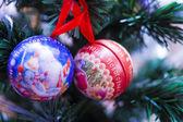 Spheres on a fir-tree — Stock Photo