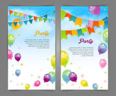 Party banner with flags and ballons — Stock Vector