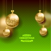 Christmas card with balls background — Stok Vektör