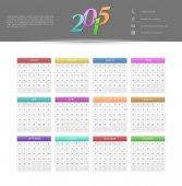 Calendário para o ano de 2015 — Vetor de Stock