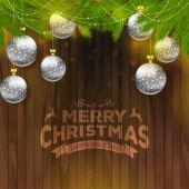 Bolas de navidad sobre fondo de madera — Vector de stock