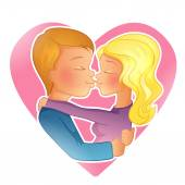 Couple young people kissing — Stock Vector