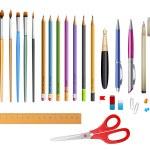 Set include pens ana pencils — Stock Vector #63206563