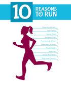 10 top reasons to run — Stock Vector