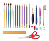 Set include pens ana pencils — Stock Vector