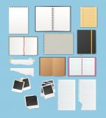 Set include notebooks and papers — Stock Vector
