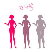 Be fit, woman silhouette images — ストックベクタ