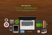 Workplace with isolated objects — Stockvector