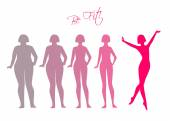 Be fit, woman silhouette images — Stockvector