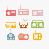 Radio isolated objects set — Stock Vector