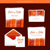 Wedding collection with watercolor — Stock Vector
