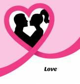 Couple's silhouette kissing image — Stock Vector