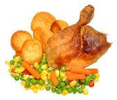 晚饭吃烤鸡 — 图库照片