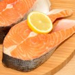 Fresh Uncooked Salmon Steaks — Stock Photo #53796975