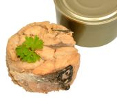 Canned Atlantic Salmon Meat — Stock Photo