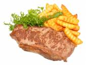 Fried Steak And Chips — Stock Photo