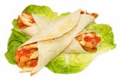 Chicken Filled Tortilla Wraps — Stock Photo