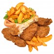 Fried Chicken Portions And Potato Wedges — Stock Photo #69770703