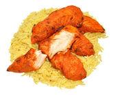 ご飯とタンドリー チキンのフィレ — ストック写真