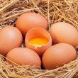 The eggs which are laid out in a basket with hay. — Stock Photo #70477417