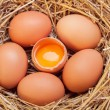 The eggs which are laid out in a basket with hay. — Stock Photo #70477493