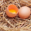 The eggs which are laid out in a basket with hay. — Stock Photo #70477593