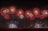 DUBAI, UAE - DECEMBER 2: UAE National Day-2014 celebration with fireworks in JBR Dubai Marina on December 2,2014 in Dubai, UAE — Stock Photo