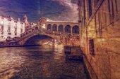 Rialto Bridge in retro style Venice, Italy. — Stock Photo