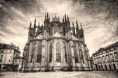 St. Vitus Cathedral retro style in Prague, Czech Republic. — Stock Photo